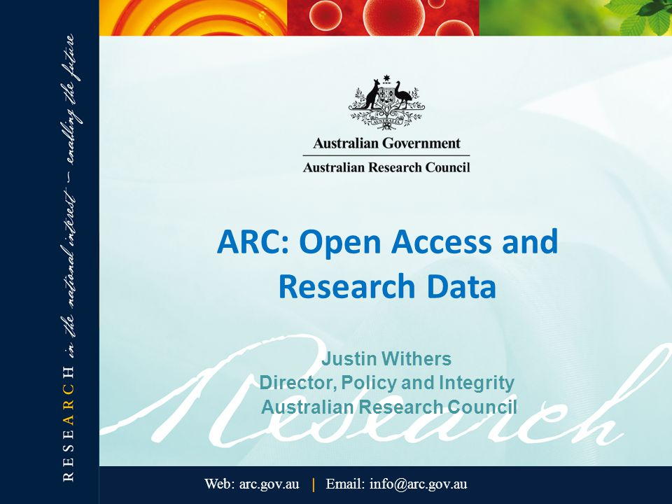 Next steps The next steps in the ARC's data management initiative include: monitoring developments in funding agency and institutional data policies, both in Australia and internationally; considering options for evaluating the benefit of the new data management requirement to ARC-funded research; and monitoring the impact of effective data management on ARC-funded research outcomes over time.