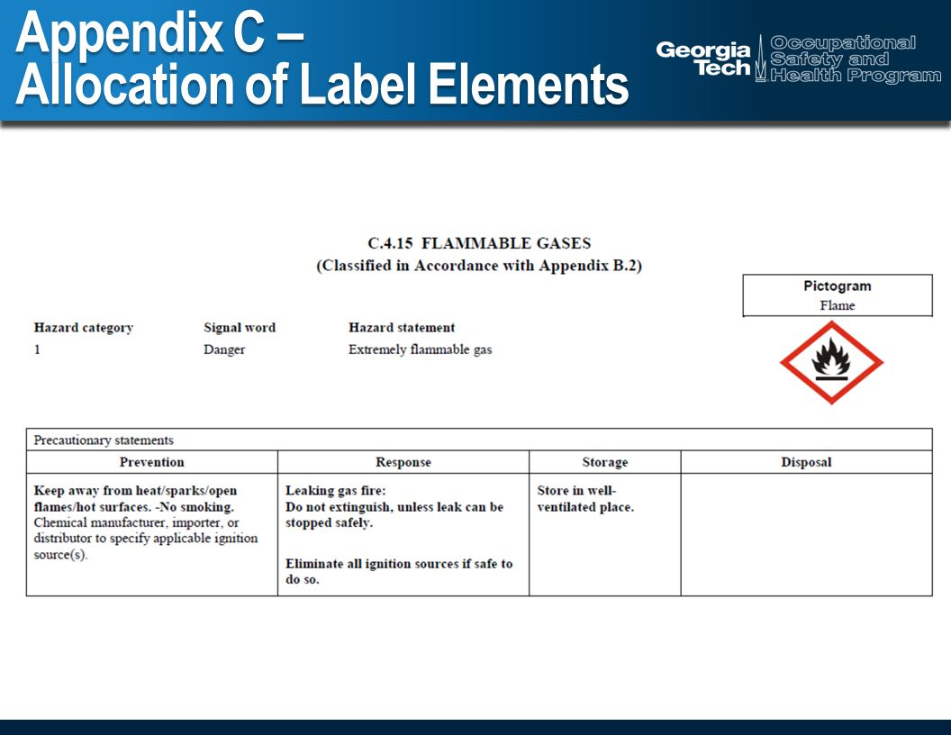 Appendix C – Allocation of Label Elements