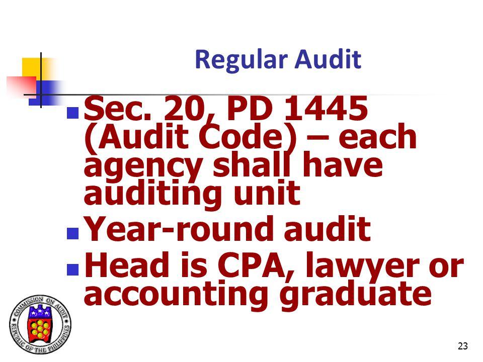 23 Regular Audit Sec.