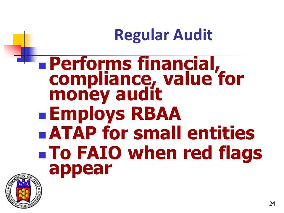 24 Regular Audit Performs financial, compliance, value for money audit Employs RBAA ATAP for small entities To FAIO when red flags appear