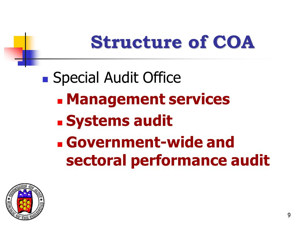 9 Structure of COA Special Audit Office Management services Systems audit Government-wide and sectoral performance audit