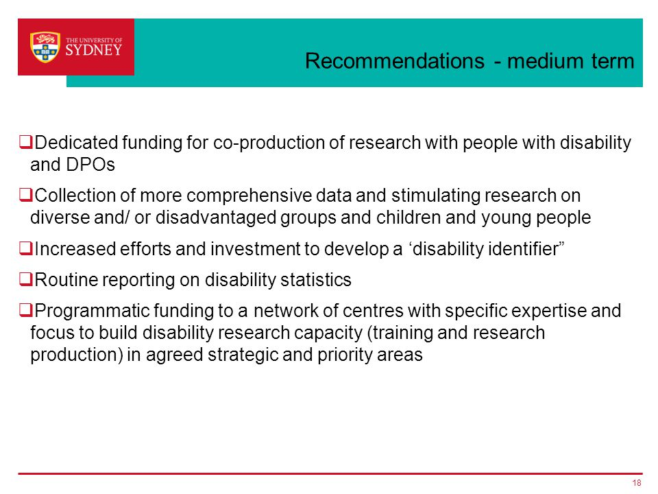 Recommendations - medium term  Dedicated funding for co-production of research with people with disability and DPOs  Collection of more comprehensive data and stimulating research on diverse and/ or disadvantaged groups and children and young people  Increased efforts and investment to develop a 'disability identifier  Routine reporting on disability statistics  Programmatic funding to a network of centres with specific expertise and focus to build disability research capacity (training and research production) in agreed strategic and priority areas 18