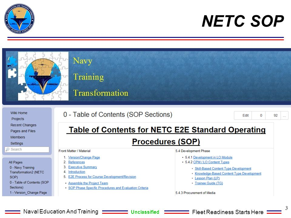 Naval Education And Training Unclassified Fleet Readiness Starts Here 3 NETC SOP