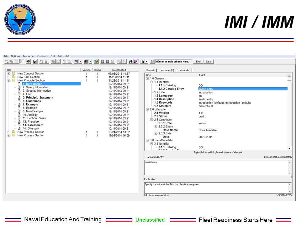Naval Education And Training Unclassified Fleet Readiness Starts Here IMI / IMM