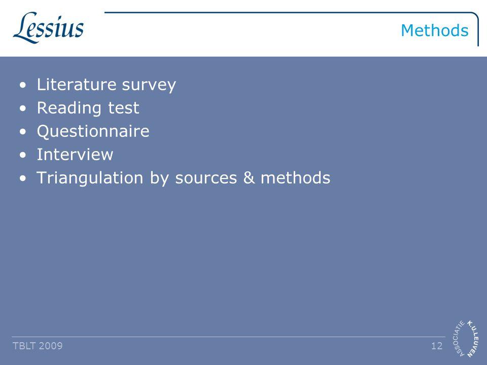 Methods Literature survey Reading test Questionnaire Interview Triangulation by sources & methods TBLT 2009 12