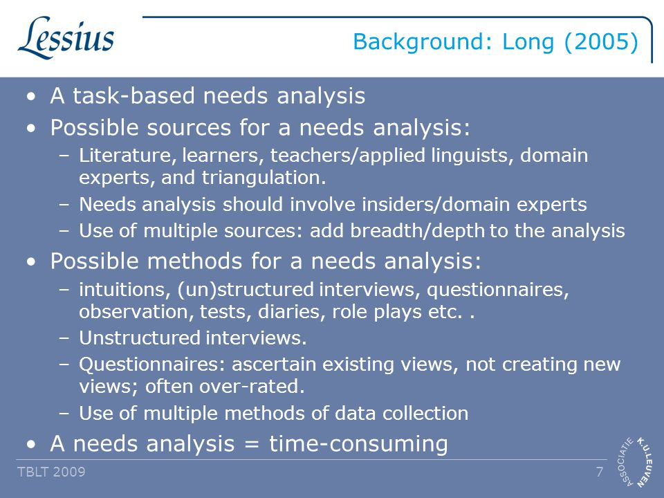 Background: Long (2005) A task-based needs analysis Possible sources for a needs analysis: –Literature, learners, teachers/applied linguists, domain experts, and triangulation.
