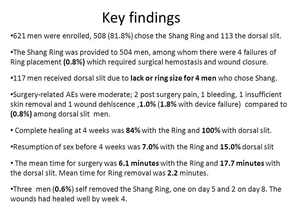 Key findings 621 men were enrolled, 508 (81.8%) chose the Shang Ring and 113 the dorsal slit.