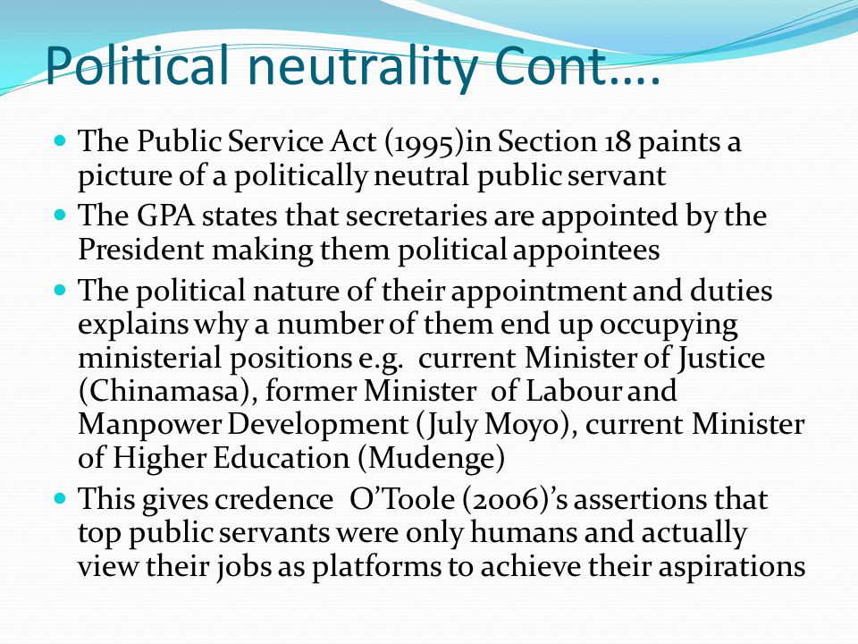 Political neutrality Cont….