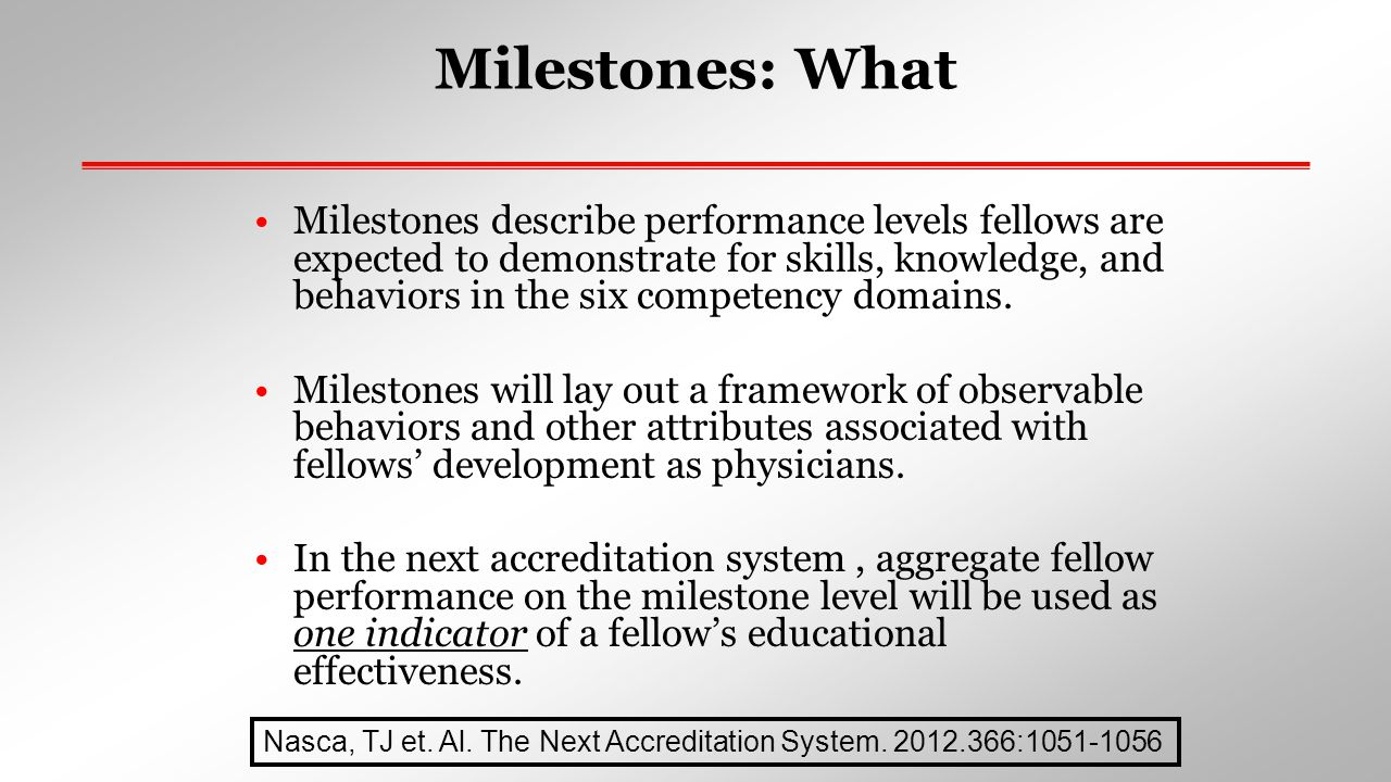 Key Points: Milestones  Articulate shared understanding of expectations  Describe trajectory from beginner in the specialty to exceptional resident or practitioner  Organized under six domains of clinical competency  Represent a subset of all sub-competencies  Set aspirational goals of excellence