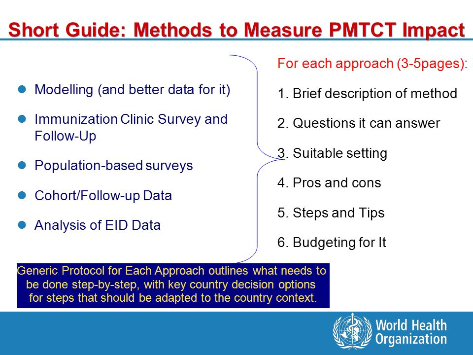 Short Guide: Methods to Measure PMTCT Impact Modelling (and better data for it) Immunization Clinic Survey and Follow-Up Population-based surveys Cohort/Follow-up Data Analysis of EID Data For each approach (3-5pages): 1.