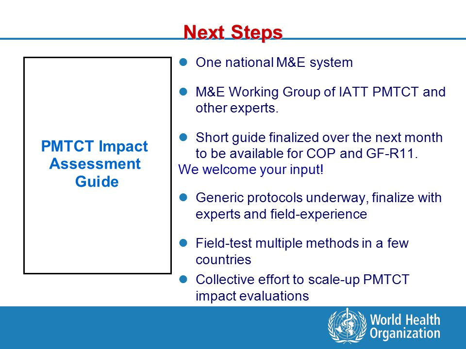 Next Steps One national M&E system M&E Working Group of IATT PMTCT and other experts.