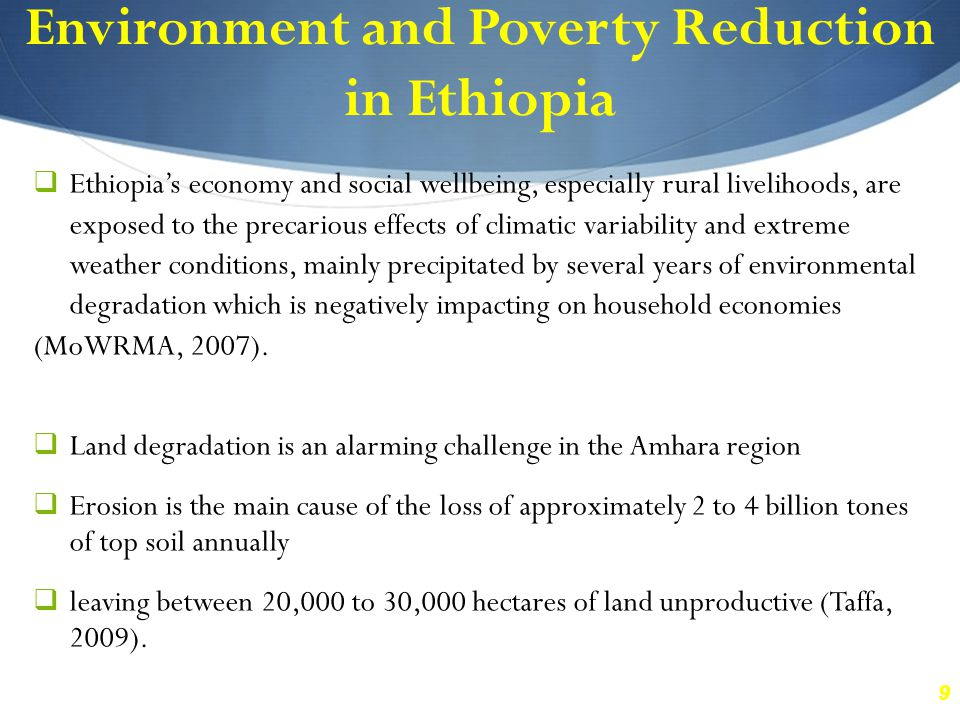 10 Environmental degradation in the Amhara Region of Ethiopia In spite of recent advances, poverty in the Amhara region is still high (7.3 million) next to Oromia (9.3 million) although the latter shares the largest population size compared with other regions (DPRD & MoFED, 2008).