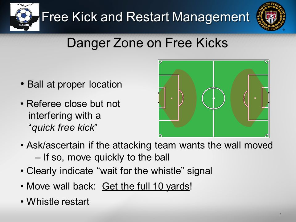 6 Free Kick and Restart Management Sequence of Actions to Manage Free Kicks Quick Free KickCeremonial Free Kick Whistle Foul Move Toward Spot of Foul (as needed) Ensure Ball Properly Located Read Player's Intent: Move to Position Appropriate for the Restart Encourage the Kick by Verbally Managing Opponents Around the Ball to Prevent Interference Team Indicates They Want Ceremonial Restart (CFK) Get To Ball Look for Confirmation of Ceremonial Kick (CFK) From Attackers Show Wait for Whistle Signal Move the Wall Back: Get 10 yards From Players in All Directions Move to Restart Position Whistle for Restart