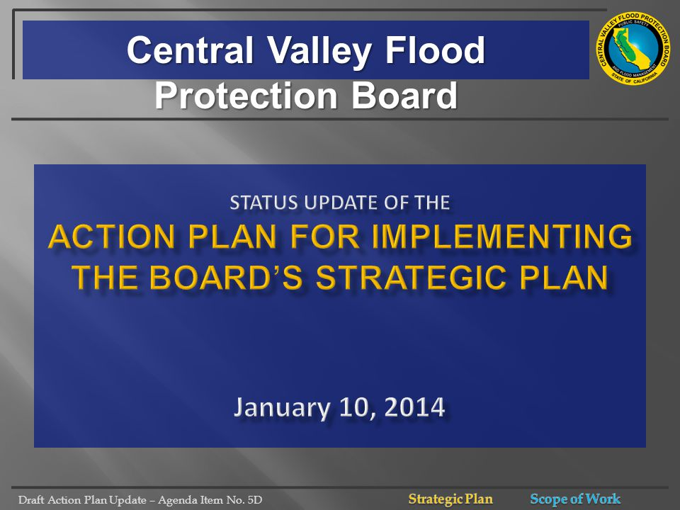Draft Action Plan Update – Agenda Item No. 5D Central Valley Flood Protection Board
