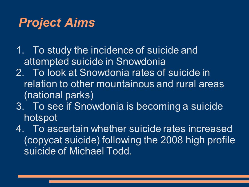 Method Used the YG Mountain Medicine database to identify all suicide cases, self-harm cases and suspicious deaths 25 such cases recorded over the period March 2004- November 2010 Method of suicide or self-harm, age and gender recorded Location of suicide attempt recorded Home address of all cases noted