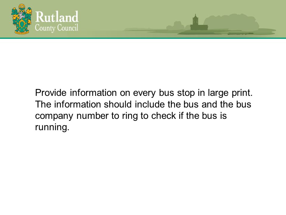 Provide information on every bus stop in large print.