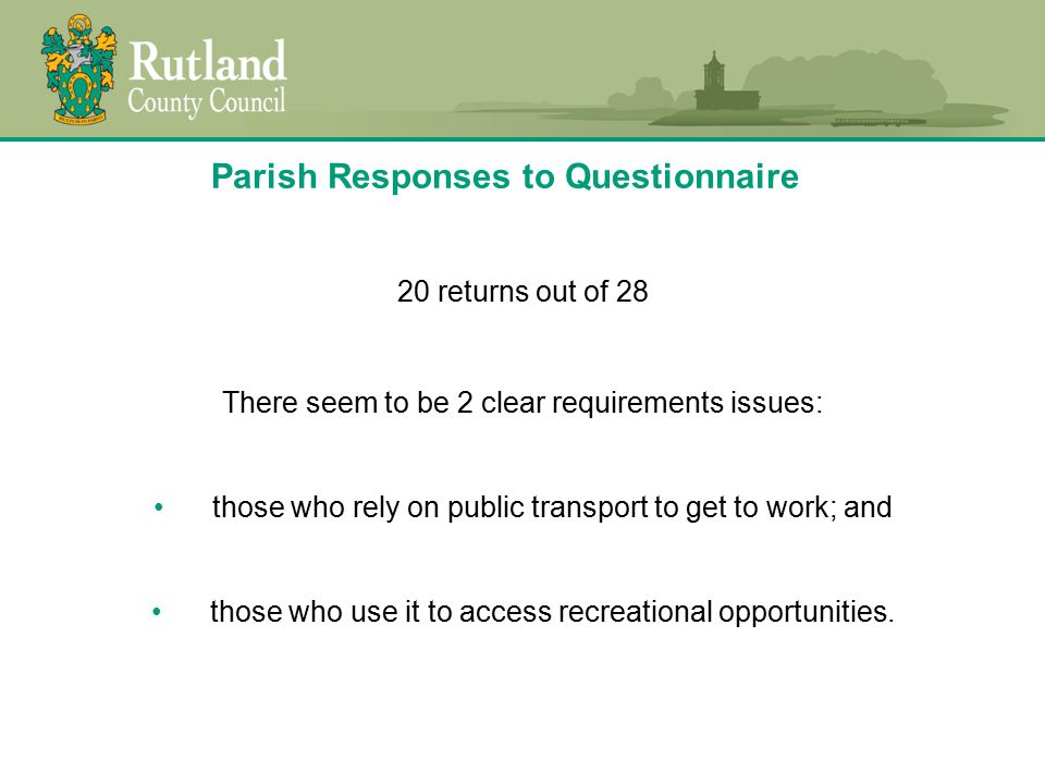Question 1 Do you think your parish is well served by public transport.