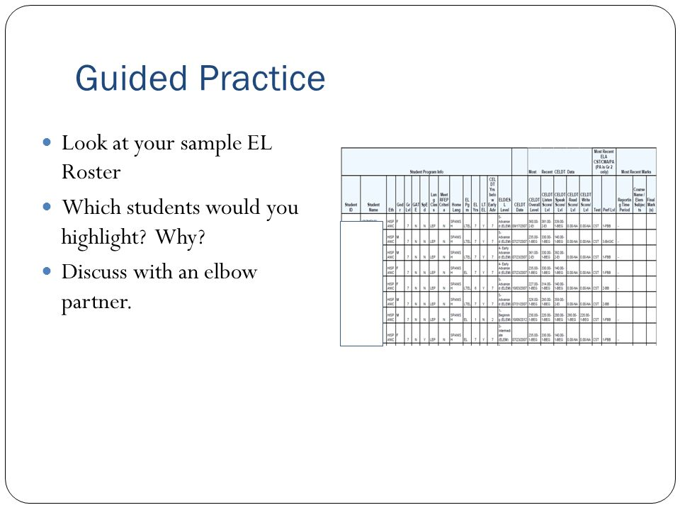 Guided Practice Look at your sample EL Roster Which students would you highlight? Why? Discuss with an elbow partner.