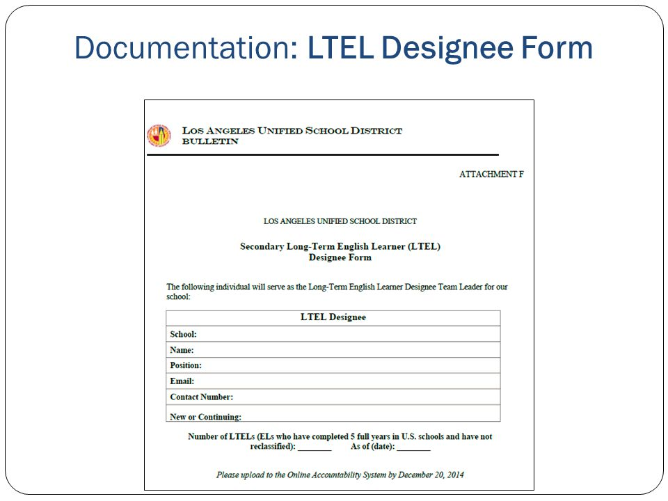 Documentation: LTEL Designee Form