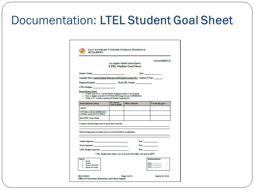 Documentation: LTEL Student Goal Sheet