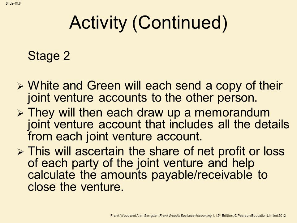 Frank Wood and Alan Sangster, Frank Wood's Business Accounting 1, 12 th Edition, © Pearson Education Limited 2012 Slide 40.8 Activity (Continued) Stage 2  White and Green will each send a copy of their joint venture accounts to the other person.