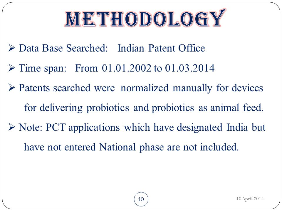 10 April 2014 10  Data Base Searched: Indian Patent Office  Time span: From 01.01.2002 to 01.03.2014  Patents searched were normalized manually for devices for delivering probiotics and probiotics as animal feed.