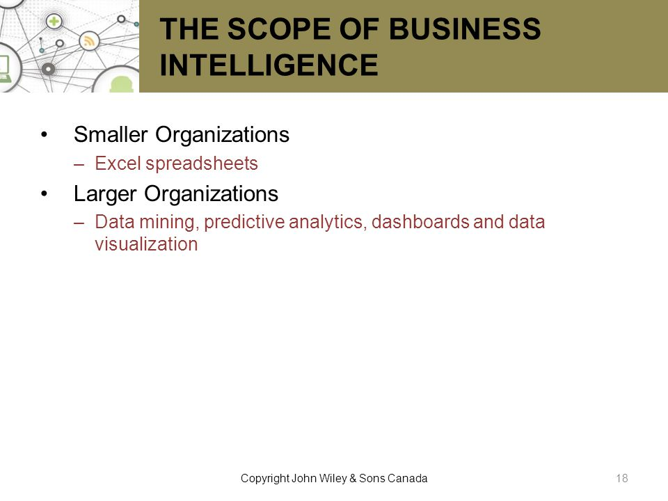 THE SCOPE OF BUSINESS INTELLIGENCE Smaller Organizations –Excel spreadsheets Larger Organizations –Data mining, predictive analytics, dashboards and d