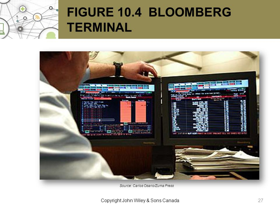 FIGURE 10.4 BLOOMBERG TERMINAL Source: Carlos Osario/Zuma Press 27Copyright John Wiley & Sons Canada