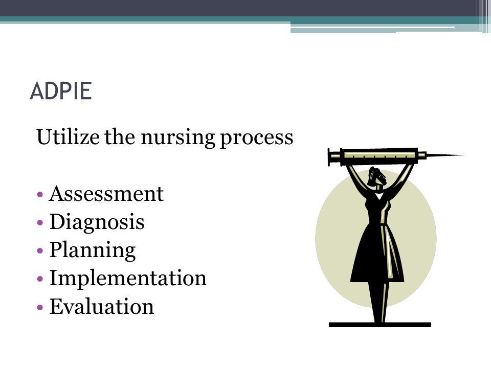 ADPIE Utilize the nursing process Assessment Diagnosis Planning Implementation Evaluation
