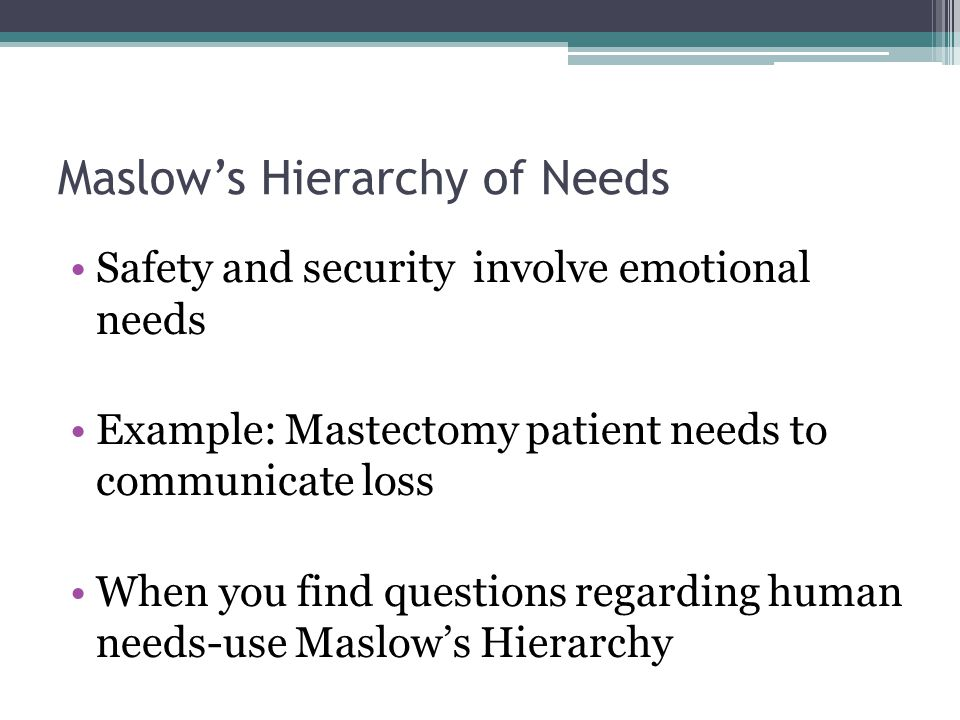 Maslow's Hierarchy of Needs Safety and security involve emotional needs Example: Mastectomy patient needs to communicate loss When you find questions