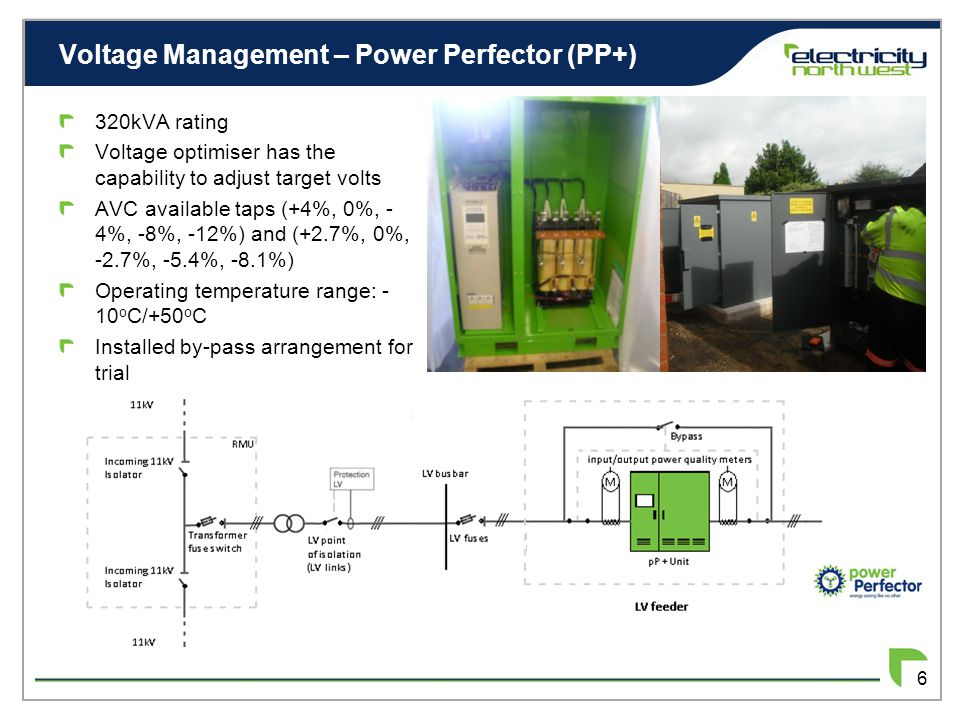 Voltage Management – Power Perfector (PP+) 6 320kVA rating Voltage optimiser has the capability to adjust target volts AVC available taps (+4%, 0%, - 4%, -8%, -12%) and (+2.7%, 0%, -2.7%, -5.4%, -8.1%) Operating temperature range: - 10 o C/+50 o C Installed by-pass arrangement for trial