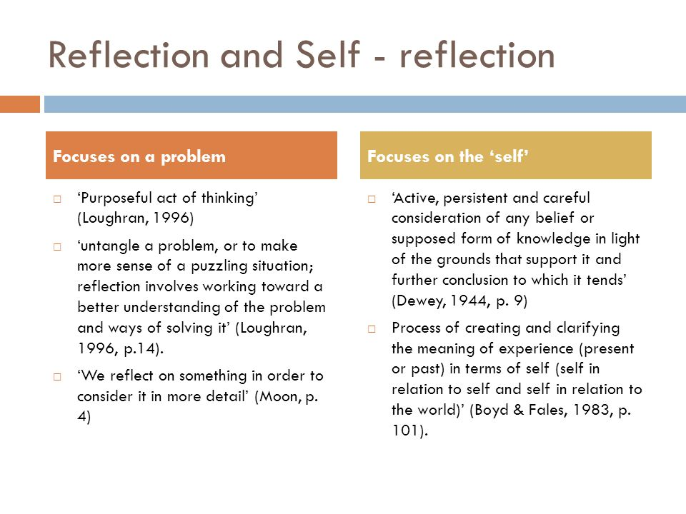 Reflection and Self - reflection Focuses on a problem  'Purposeful act of thinking' (Loughran, 1996)  'untangle a problem, or to make more sense of a puzzling situation; reflection involves working toward a better understanding of the problem and ways of solving it' (Loughran, 1996, p.14).