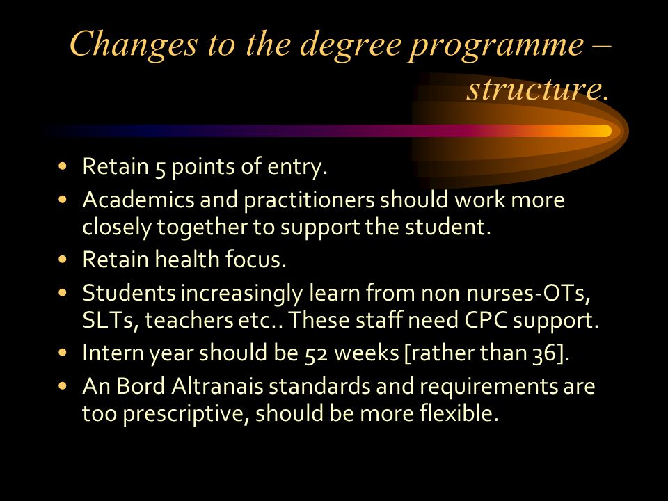 Changes to the degree programme – structure. Retain 5 points of entry.