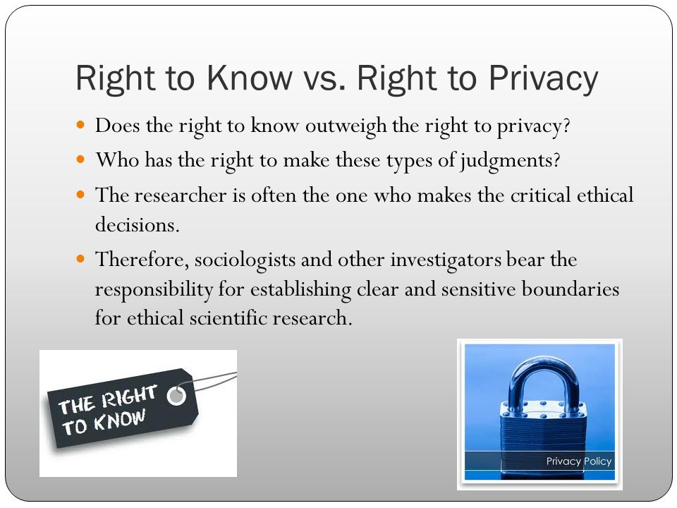 Right to Know vs. Right to Privacy Does the right to know outweigh the right to privacy? Who has the right to make these types of judgments? The resea