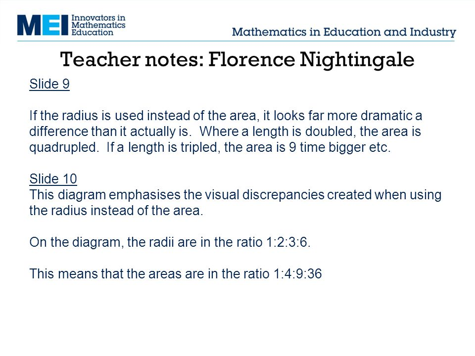Teacher notes: Florence Nightingale Slide 9 If the radius is used instead of the area, it looks far more dramatic a difference than it actually is.