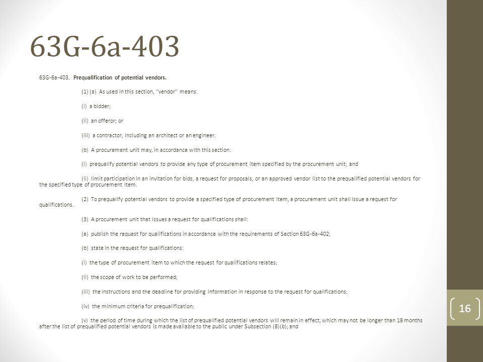 63G-6a-403 63G-6a-403. Prequalification of potential vendors. (1) (a) As used in this section,
