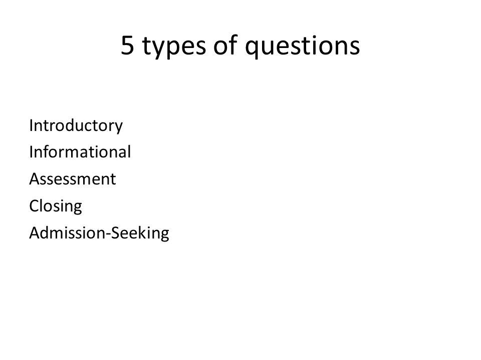 5 types of questions Introductory Informational Assessment Closing Admission-Seeking
