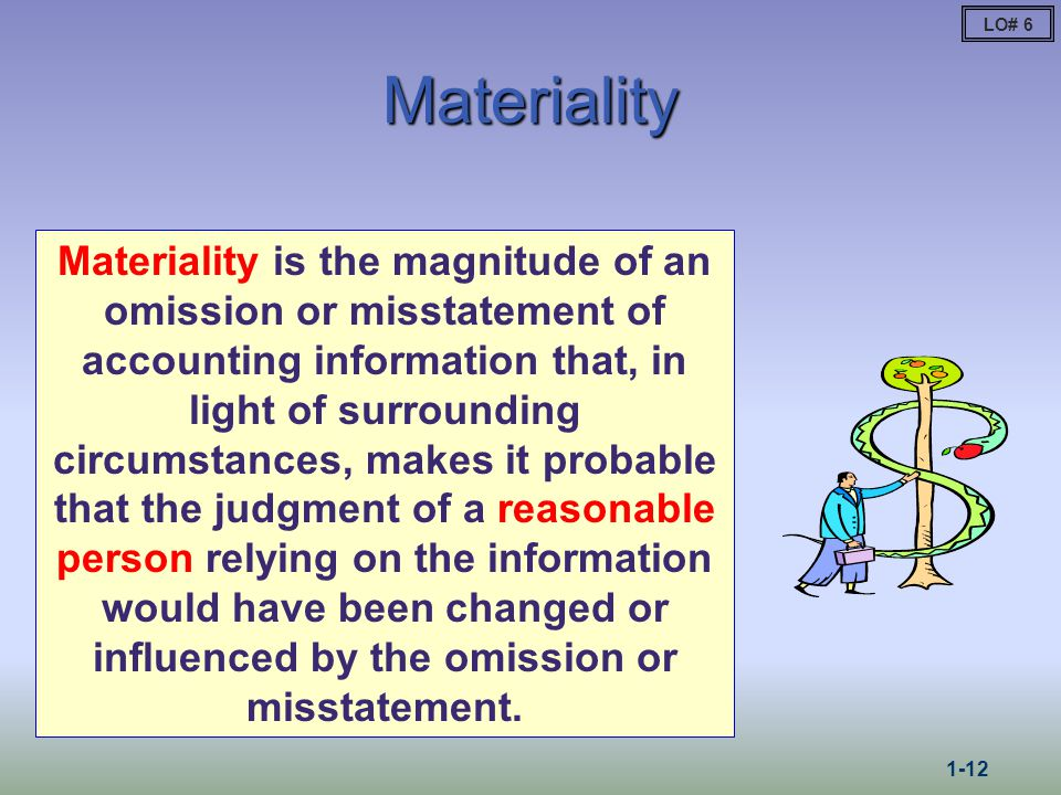 Materiality Materiality is the magnitude of an omission or misstatement of accounting information that, in light of surrounding circumstances, makes it probable that the judgment of a reasonable person relying on the information would have been changed or influenced by the omission or misstatement.