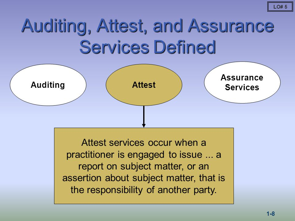Auditing, Attest, and Assurance Services Defined Auditing Attest Assurance Services Independent professional services that improve the quality of information, or its context, for decision makers.