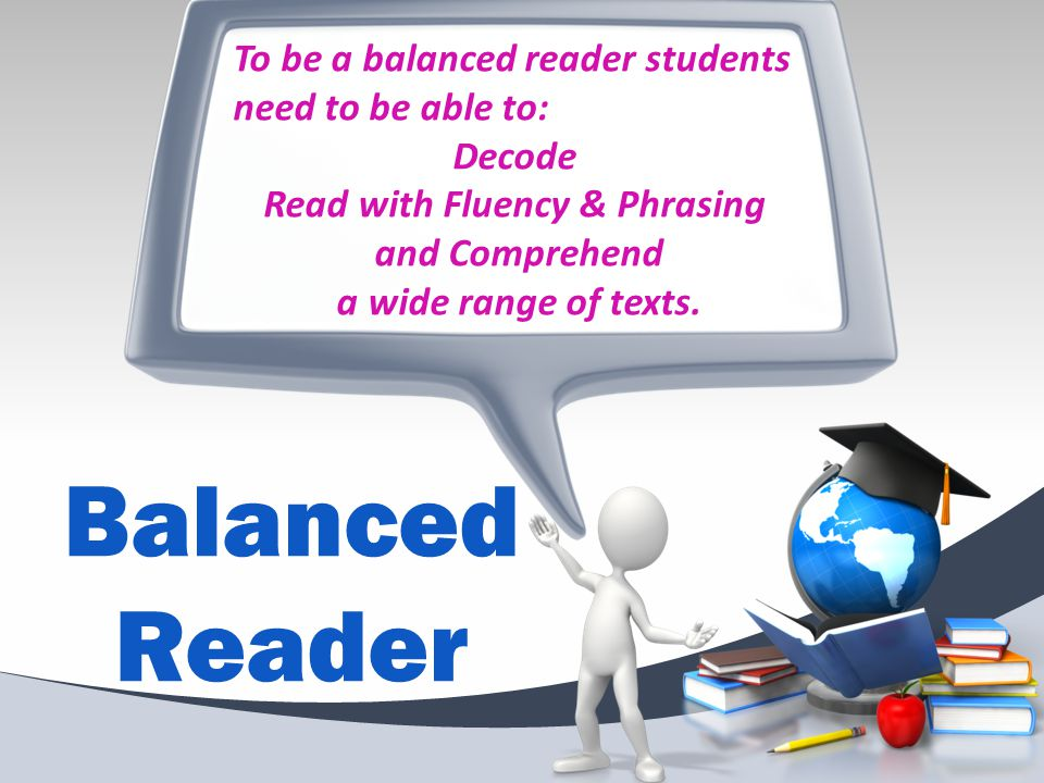 To be a balanced reader students need to be able to: Decode Read with Fluency & Phrasing and Comprehend a wide range of texts.