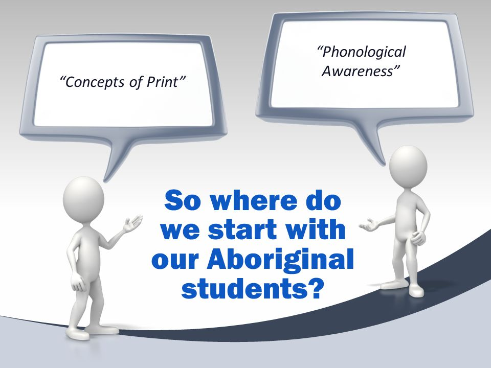 """""""Phonological Awareness"""" """"Concepts of Print"""" So where do we start with our Aboriginal students?"""