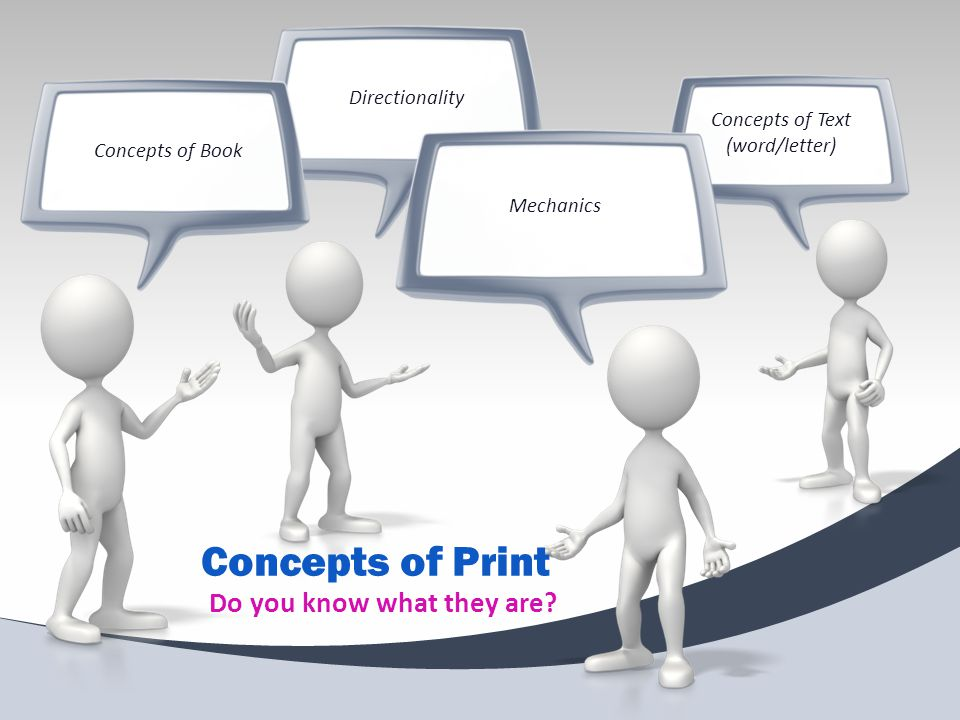 DirectionalityConcepts of Book Concepts of Text (word/letter) Mechanics Concepts of Print Do you know what they are