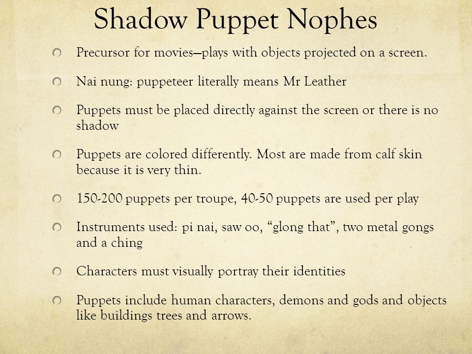 Shadow Puppet Nophes Precursor for movies—plays with objects projected on a screen.