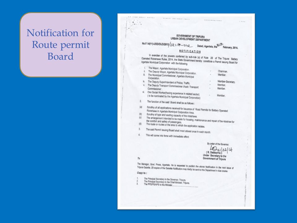 Notification for Route permit Board