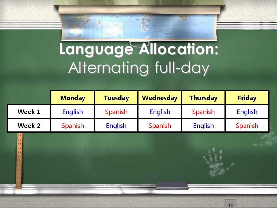 Language Allocation: Alternating full-day