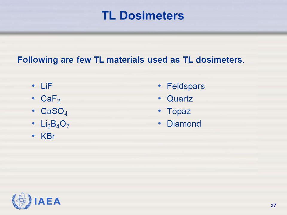 IAEA 37 TL Dosimeters LiF CaF 2 CaSO 4 Li 2 B 4 O 7 KBr Feldspars Quartz Topaz Diamond Following are few TL materials used as TL dosimeters.
