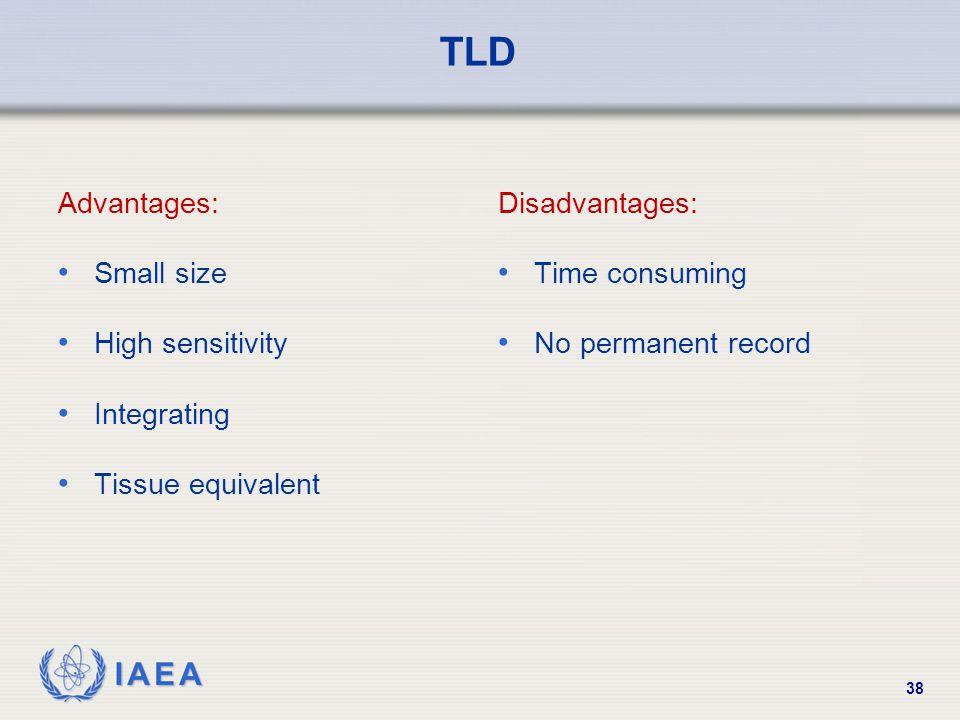 IAEA 38 TLD Advantages: Small size High sensitivity Integrating Tissue equivalent Disadvantages: Time consuming No permanent record