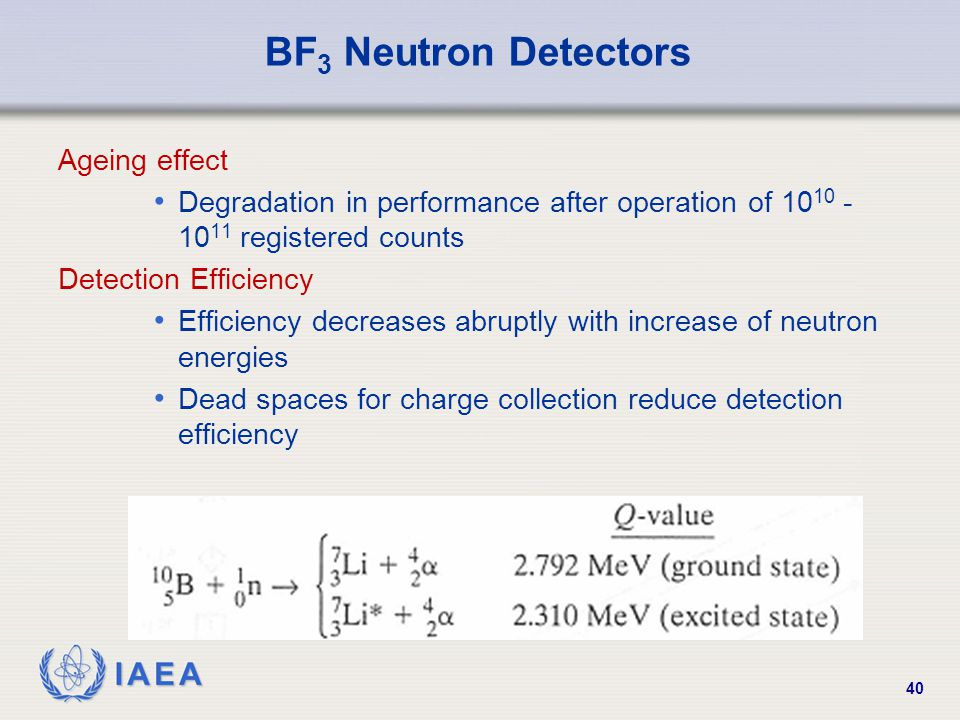IAEA 40 BF 3 Neutron Detectors Ageing effect Degradation in performance after operation of 10 10 - 10 11 registered counts Detection Efficiency Effici