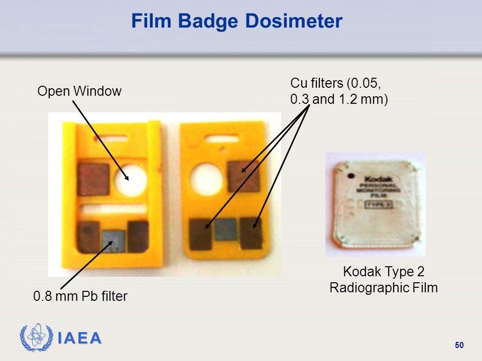 IAEA 50 Film Badge Dosimeter Open Window 0.8 mm Pb filter Cu filters (0.05, 0.3 and 1.2 mm) Kodak Type 2 Radiographic Film