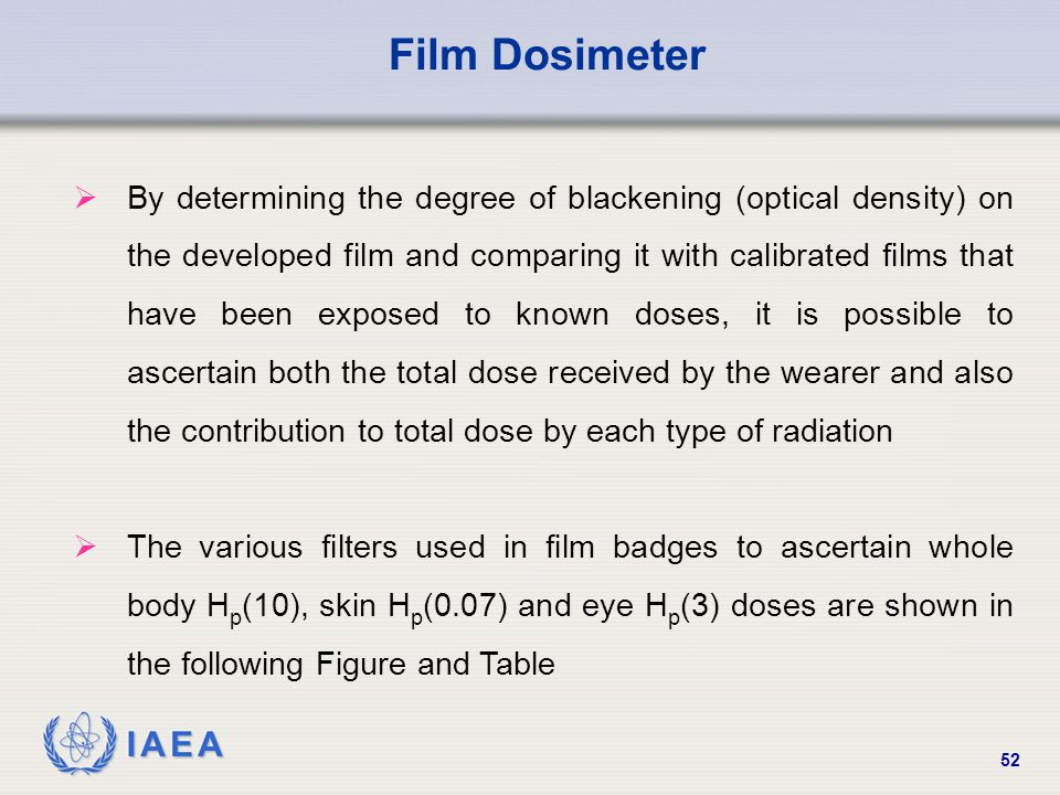IAEA 52  By determining the degree of blackening (optical density) on the developed film and comparing it with calibrated films that have been expose